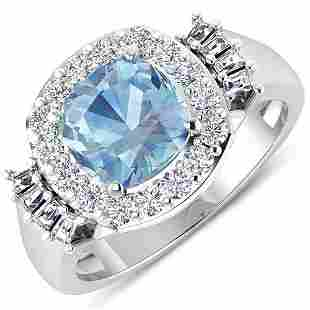 Natural 2.43 CTW Aquamarine & Diamond Ring 14K White