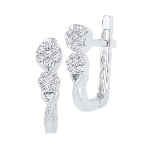 Round Diamond Flower Cluster Hoop Earrings 1/4 Cttw