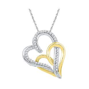 Round Diamond Two-tone Double Joined Hearts Pendant 1/6
