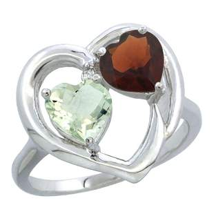 2.61 CTW Diamond, Amethyst & Garnet Ring 14K White Gold