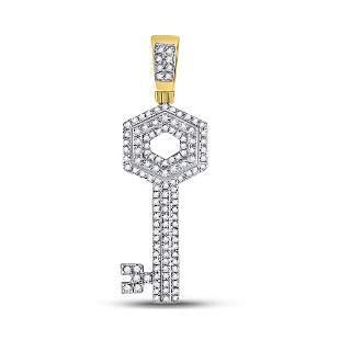 Round Diamond Key Charm Pendant 1/2 Cttw 10KT Yellow