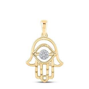 Round Diamond Hamsa Fashion Pendant 1/20 Cttw 10KT