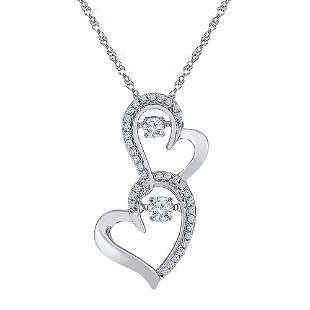 Round Diamond Moving Twinkle Solitaire Double Heart