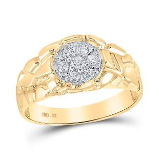 Round Diamond Cluster Nugget Band Ring 1/4 Cttw 10KT