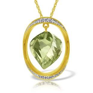 Genuine 15.35 ctw Amethyst & Diamond Necklace 14KT