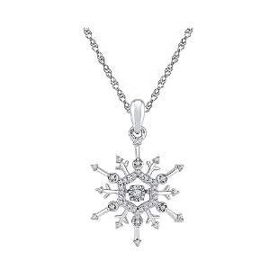 Round Diamond Snowflake Winter Cluster Pendant 1/6 Cttw
