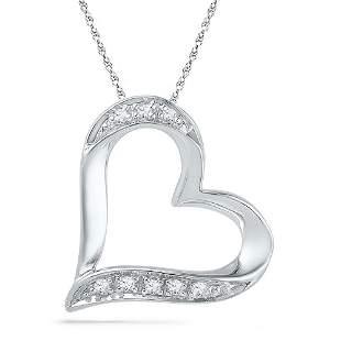 Round Diamond Heart Outline Pendant .03 Cttw 10KT White