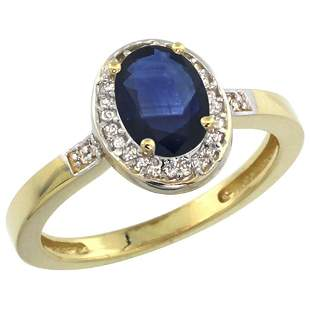 1.15 CTW Blue Sapphire & Diamond Ring 14K Yellow Gold -