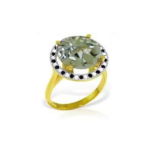 Genuine 5.2 ctw Green Amethyst, White & Black Diamond