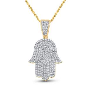 Round Diamond Hamsa Hand Charm Pendant 3/4 Cttw 14KT