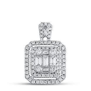 Baguette Diamond Square Cluster Pendant 1 Cttw 14KT