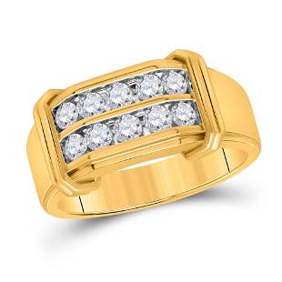 Round Diamond Double Row Band Ring 3/8 Cttw 10KT Yellow