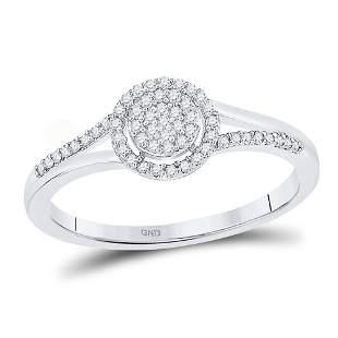 Round Diamond Cluster Ring 1/6 Cttw 10KT White Gold