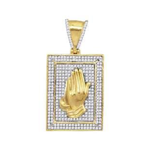 Round Diamond Praying Hands Frame Charm Pendant 1/2