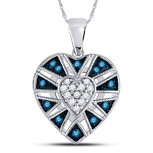Round Blue Color Enhanced Diamond Heart Pendant 1/4