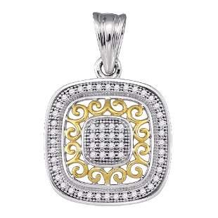 Round Diamond Square Pendant 1/6 Cttw 10KT Two-tone
