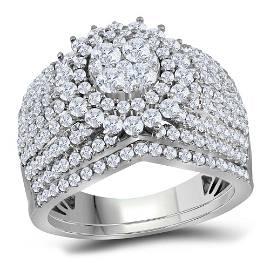 Diamond Cluster Bridal Wedding Ring Band Set 2 Cttw