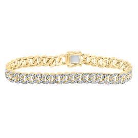 Round Diamond Cuban Link Bracelet 1-7/8 Cttw 10KT