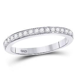 Round Diamond Single Row Band Ring 1/4 Cttw 10KT White