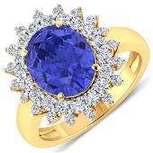Natural 4.54 CTW Tanzanite & Diamond Ring 14K Yellow