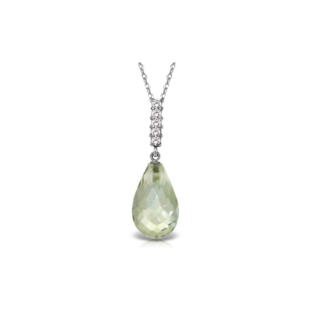 Genuine 5.38 ctw Amethyst & Diamond Necklace 14KT White