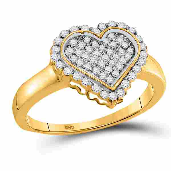 Round Diamond Heart Cluster Ring 1/4 Cttw 10KT Yellow