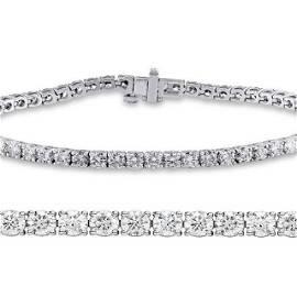 Natural 2ct VS2-SI1 Diamond Tennis Bracelet 18K White