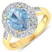 Natural 2.5 CTW Aquamarine & Diamond Ring 14K Yellow