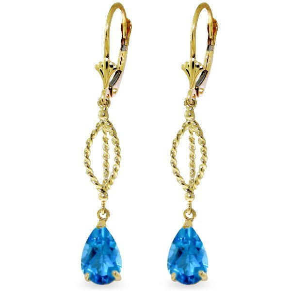 Genuine 14KT Yellow Gold 3 ctw Blue Topaz Earrings -