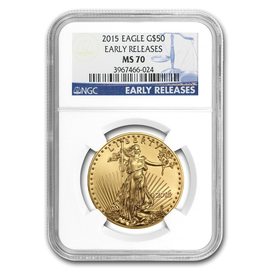 One 2015 1 oz Gold American Eagle MS-70 NGC (ER)