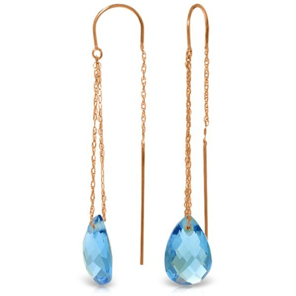 Genuine 14KT Rose Gold 6 ctw Blue Topaz Earrings -