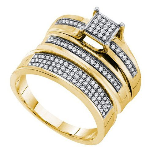 Genuine 10K Yellow Gold Jewelry 0.35 ctw Diamond Trio