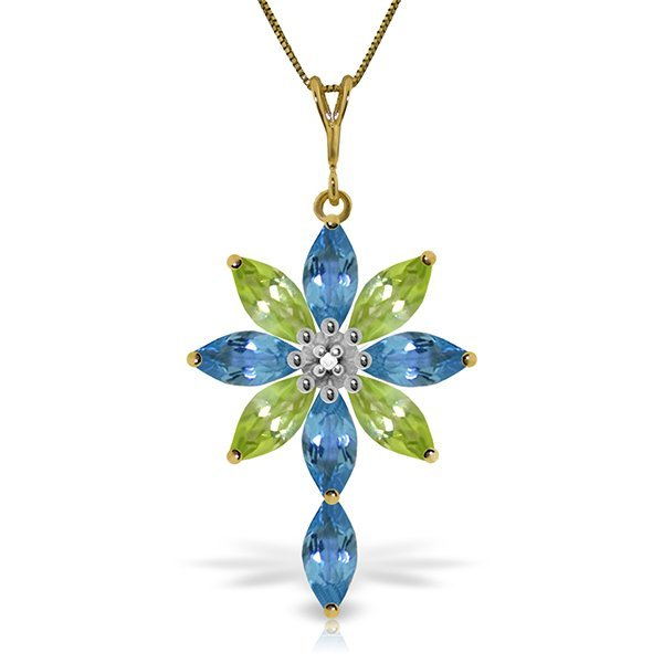 Genuine 14KT Yellow Gold 2.0 ctw Blue Topaz, Peridot &