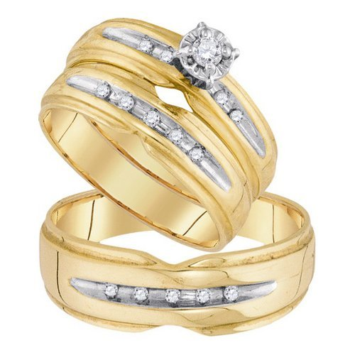 Genuine 10K Yellow Gold Jewelry 0.18 ctw Diamond Trio