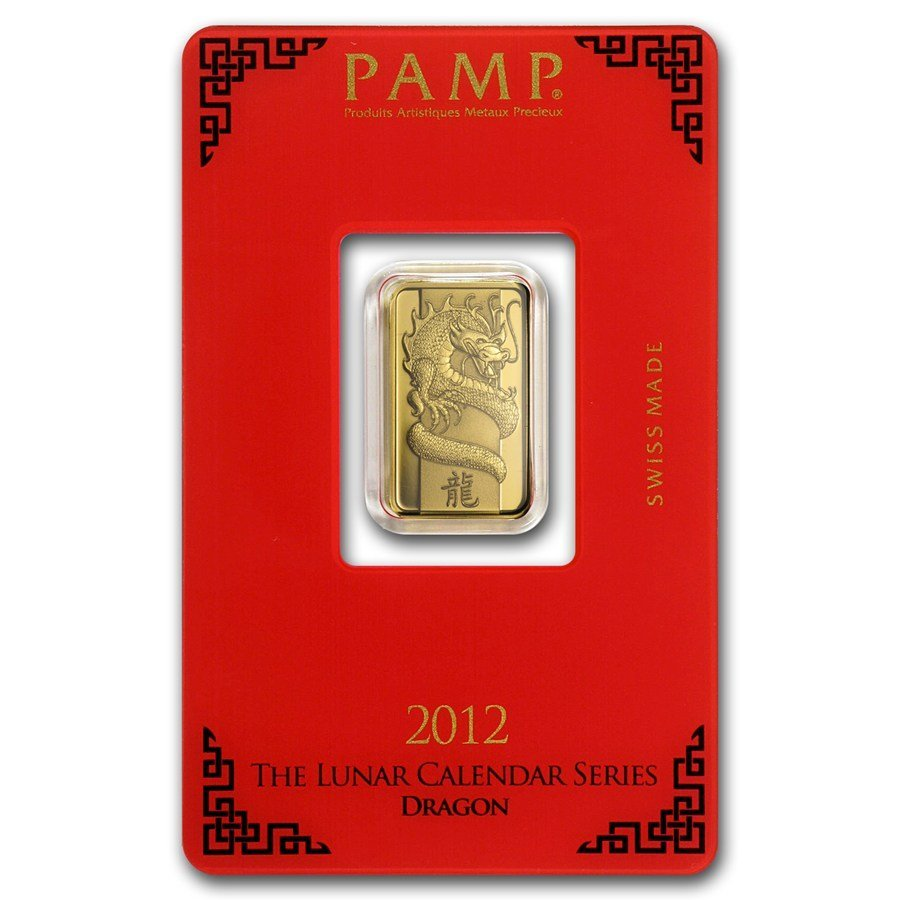 One 5 gram Gold Bar - Pamp Suisse Year of the Dragon