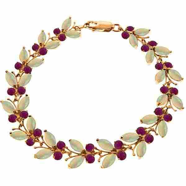 Genuine 14KT Rose Gold 12 ctw Opal & Ruby Bracelet -