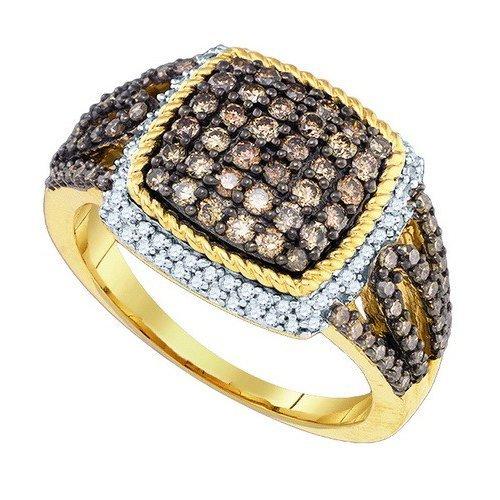 10K Yellow Gold Jewelry 1.06 ctw White Diamond & Cognac