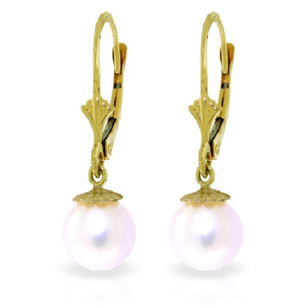 Genuine 4 ctw Pearl Earrings Jewelry 14KT Yellow Gold -