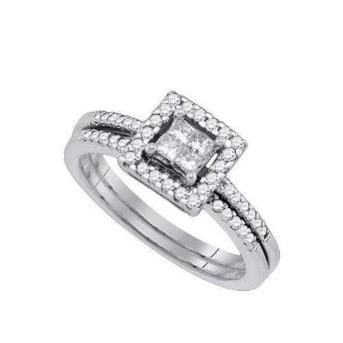 14K White Gold Jewelry 1.0 ctw White Diamond & Blue