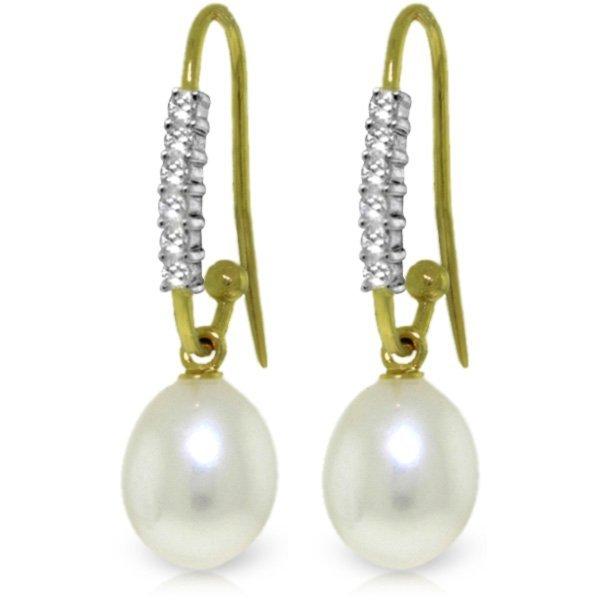 Genuine 8.18 ctw Pearl & Diamond Earrings Jewelry 14KT