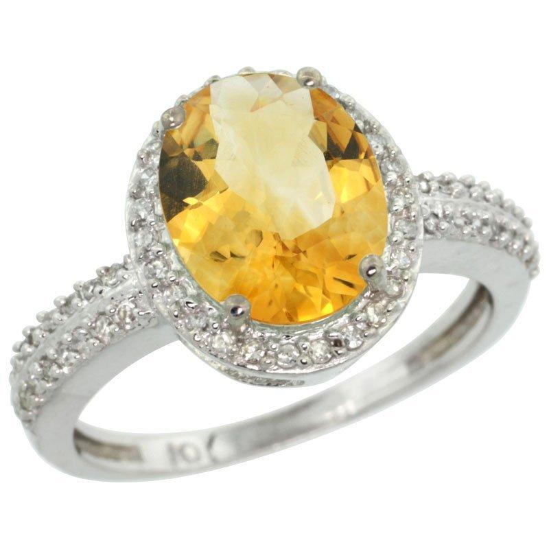Natural 2.56 ctw Citrine & Diamond Engagement Ring 10K
