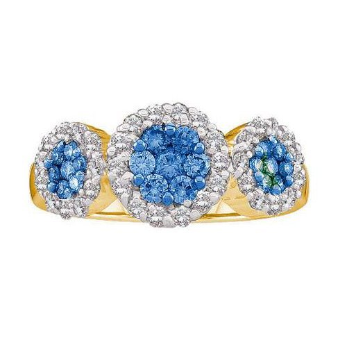 14K Yellow Gold Jewelry 1.0 ctw White Diamond & Blue