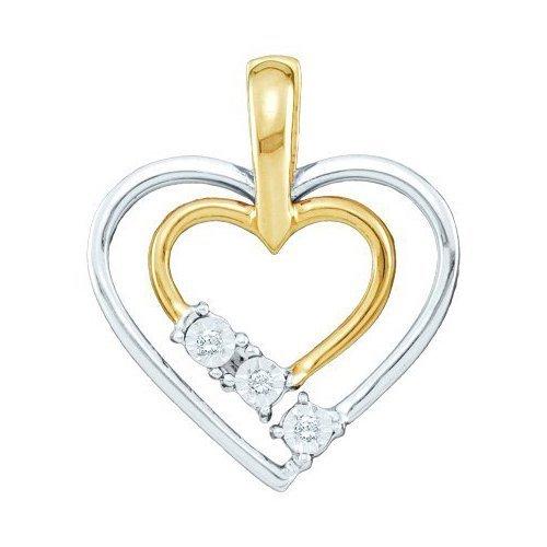 10K 2Tone Gold Jewelry 0.03 ctw Diamond Pendant -