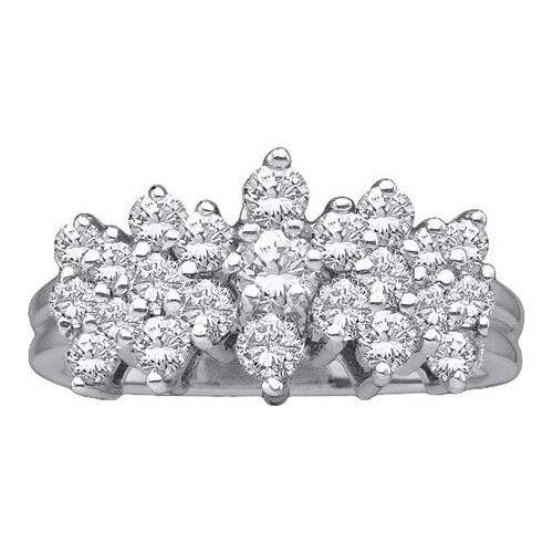14K White Gold Jewelry 1.0 ctw Diamond Ladies Ring -