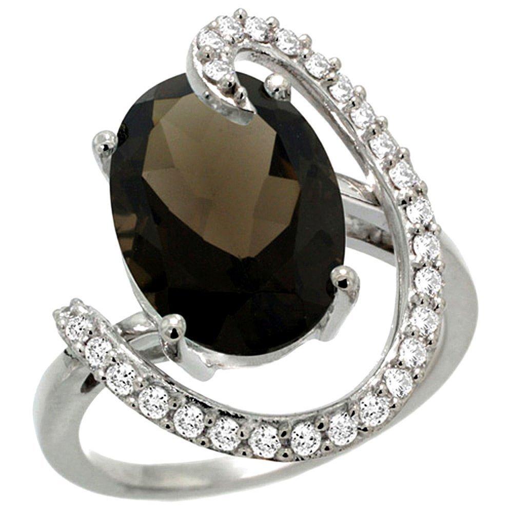 Natural 5.89 ctw Smoky-topaz & Diamond Engagement Ring