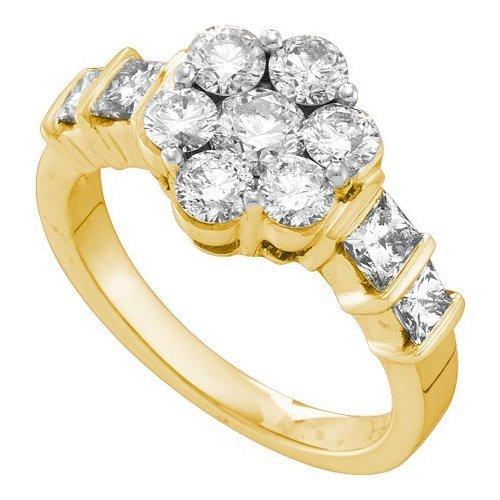 14K Yellow Gold Jewelry 2.06 ctw Diamond Ladies Ring -