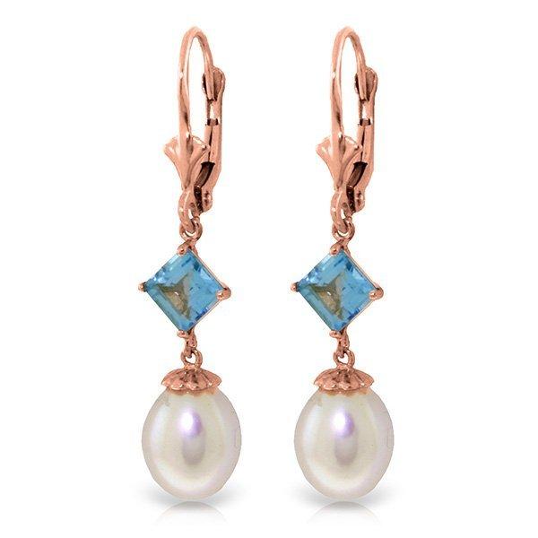 Genuine 9.5 ctw Blue Topaz Earrings Jewelry 14KT Rose
