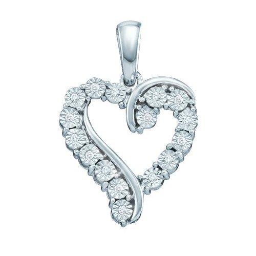 10K White Gold Jewelry 0.05 ctw Diamond Pendant -