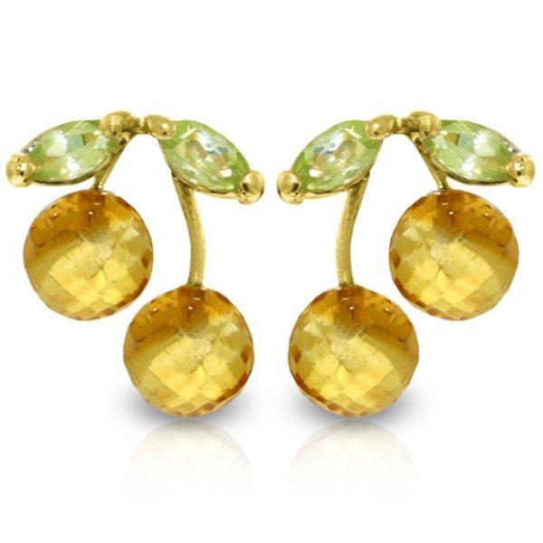 Genuine 2.9 ctw Citrine & Peridot Earrings Jewelry 14KT