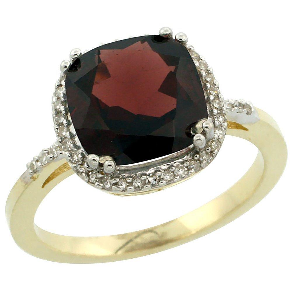 Natural 4.11 ctw Garnet & Diamond Engagement Ring 10K